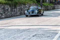 PORSCHE 356 A 1500 SPEEDSTER CARRERA GT 1957. PESARO, ITALY - MAY 15: old racing car in rally Mille Miglia 2015 the famous italian historical race 1927-1957 on Royalty Free Stock Photos