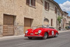 Porsche 356 1500 Speedster 1954 in Mille Miglia 2014. Vintage sports car Porsche 356 1500 Speedster 1954 travels in tuscany during the historical rally Mille Stock Photo