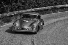 PESARO COLLE SAN BARTOLO , ITALY - MAY 17 - 2018 : PORSCHE 356 15001953 old racing car in rally Mille Miglia 2018 the famous ital. Ian historical race &#x28 Stock Photography