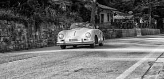 PORSCHE 356 1500 SPEEDSTER 1955. PESARO, ITALY - MAY 15: old racing car in rally Mille Miglia 2015 the famous italian historical race 1927-1957 on May 15 2015 Stock Photos