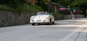 PORSCHE 356 1500 SPEEDSTER 1955. PESARO, ITALY - MAY 15: old racing car in rally Mille Miglia 2015 the famous italian historical race 1927-1957 on May 15 2015 Royalty Free Stock Images