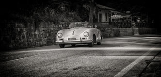 PORSCHE 356 1500 SPEEDSTER 1955. PESARO, ITALY - MAY 15: old racing car in rally Mille Miglia 2015 the famous italian historical race 1927-1957 on May 15 2015 Stock Image