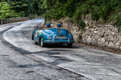 PORSCHE 356 1500 SPEEDSTER 1954. PESARO, ITALY - MAY 15: old racing car in rally Mille Miglia 2015 the famous italian historical race 1927-1957 on May 15 2015 Royalty Free Stock Photo