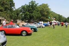 Porsche sportbilar i en line up Arkivbild