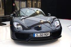 Porsche 918 Spyder front view. PARIS - JANUARY 30 - Porsche 918 Spyder, Concept cars exposition on JANUARY 30, 2014 at Les Invalides museum in Paris, France Stock Photography