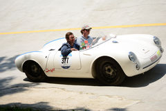 1955 Porsche 550 Spyder in Mille Miglia Royalty-vrije Stock Foto