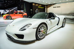 Porsche 918 Spyder, Motor Show Geneve 2015. Royalty Free Stock Photos