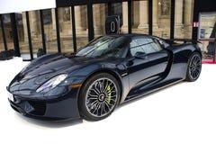 Porsche 918 Spyder sidosikt Fotografering för Bildbyråer