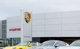 Porsche store front. Philadelphia, Pennsylvania, September 8, 2018:Porsche store. Porsche AG is a German automobile manufacturer specializing in high-performance stock photos
