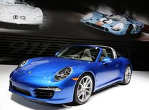 Porsche super car displayed at the auto show Royalty Free Stock Images
