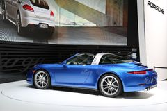 Porsche super car displayed at the auto show Stock Images