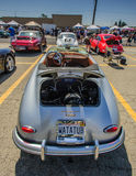 Porsche 356 1600 Super. Pomona, CA, USA - 1 June 2014: Silver Porsche 356 1600 Super Cabriolet, hood up on display at Pomona Car Show and Sale. Porsches on Royalty Free Stock Image