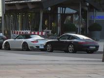 Porsche. Supercar black white turbo royalty free stock photo