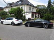 Porsche. Supercar black white turbo stock images