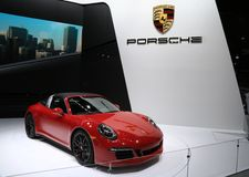 2016 Porsche 911 Targa 4 GTS bij 2015 NAIAS Stock Afbeelding