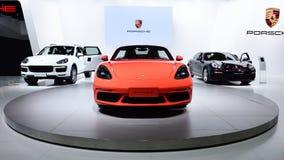 Porsche. Three Porsche cars are on display Stock Photo