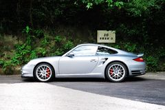 Porsche 911 Turbo. Display in Hong Kong 2010 Royalty Free Stock Photography