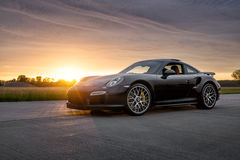 2015 Porsche 911 Turbo S. At sunset Royalty Free Stock Image