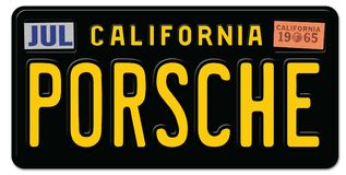 Porsche Vintage License Plate Retro. Porsche vintage California license plate black retro classic car road trip sign vector illustration