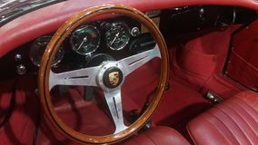 Porsche vintage car steering wheel Stock Photo