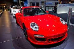 Porsche wird auf Autoshow in Moskau, Russland dargestellt Lizenzfreies Stockbild