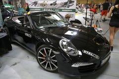 Porsche 911 wystawiający przy 3rd wydaniem MOTO przedstawienie w Krakowskim fotografia royalty free