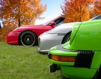 Porsches z rzędu Zdjęcia Royalty Free