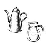 Porselein en glaskoffiepotten Royalty-vrije Stock Foto