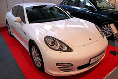 Porshe panamera 4. KIEV - OCTOBER 29: Yearly automotive-show Retro & Exotica Motor Show. October 29, 2010 in Kiev, Ukraine. Porshe panamera 4 Royalty Free Stock Photos