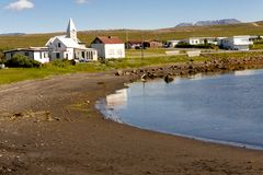 Porshofn village. North part of Iceland. Royalty Free Stock Images