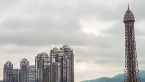 Porslin för schackningsperiod för tid för panorama 4k för byggnad för framdel för sida för hotell för Macao dagljus berömt lager videofilmer