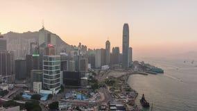 Porslin för schackningsperiod för tid för panorama 4k för fjärd för tak för solnedgånghimmelhong kongscape stock video