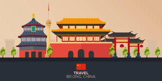 porslin till turen semester Blå himmel och bil Turism resa Resande illustrationPekingstad Modern plan design Kina Pekinghimmel royaltyfri illustrationer
