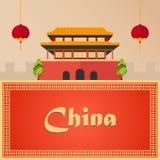 porslin till turen semester Blå himmel och bil Turism resa Resande illustrationPekingstad Modern plan design Kina Pekinghimmel vektor illustrationer