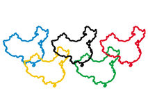 porslinet colours olympic Fotografering för Bildbyråer