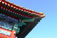 porslinet roofs tempelet Royaltyfri Fotografi