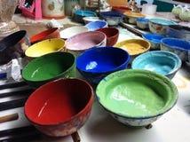 Porslinfärgmålarfärg Arkivbilder