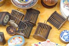 porslinförsäljning för 6 antikvitet Fotografering för Bildbyråer