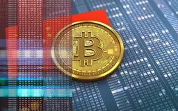 porslinflagga för bitcoin 3d Royaltyfri Fotografi