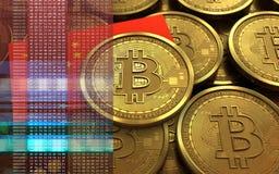 porslinflagga för bitcoin 3d Arkivbilder