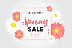 Promotion Background Banner Sale Spring Poster. Porster background for promotion sale on spring season. basic color white, black, pink, yellow stock illustration