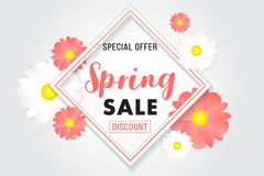 Promotion Background Banner Sale Spring Poster. Porster background for promotion sale on spring season. basic color white, black, pink, yellow royalty free illustration