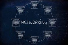 Portáteis conectados entre si & dados de transferência, com o texto n Imagem de Stock Royalty Free