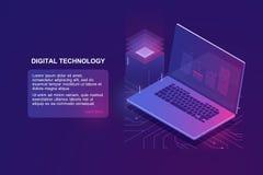 Portátil com código do programa na tela, ícone isométrico da programação, educação em linha da programação de software, digital ilustração royalty free