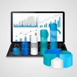 Portátil com cartas e gráficos financeiros - negócio, finança, conceito explicando da estatística Foto de Stock