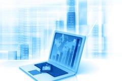 Portátil com diagramas da informação do gráfico de negócio Imagem de Stock Royalty Free