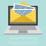 Portátil com envelope e email lido na tela Mercado do email, conceitos da propaganda do Internet Vetor liso ilustração royalty free