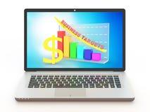 Portátil com gráfico do crescimento de lucros do negócio Imagens de Stock Royalty Free