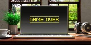 Portátil com jogo sobre a tela na mesa de madeira em casa Fundo borrado bonito da natureza ilustração 3D Imagem de Stock
