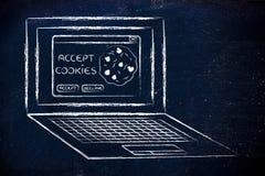 Portátil com mensagem sobre a aceitação de cookies do Web site Fotografia de Stock Royalty Free